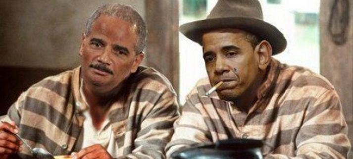 obama and holder in pink jail suit